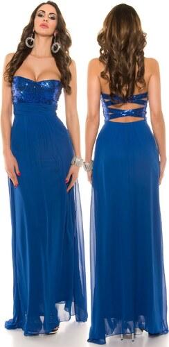KouCla Společenské dlouhé šaty s flitry Královsky modré - Glami.cz 253b112c35