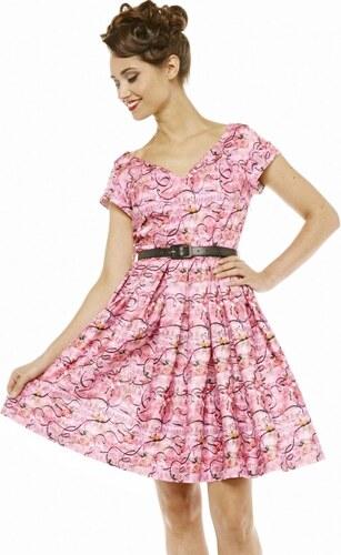 750f24342acf Růžové retro šaty Lindy Bop Aria s baletkami - Glami.cz