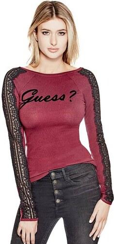 Guess svetr Holly Lace-Sleeve Logo Vínová M - Glami.cz 3c493a1705