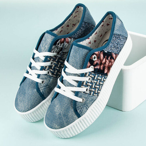7835d31794 KYLIE Luxusné modré tenisky na platforme - Glami.sk