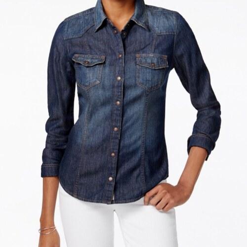 Riflová Košile Guess Slim-Fit Denim Shirt dark - Glami.cz c2c235aacf