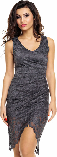 Společenské a plesové šaty MAYAADI krajkové s asymetrickou sukní tmavě šedé e26c780b998