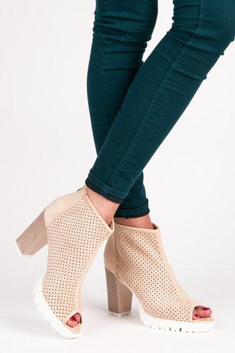 a8dd8b977e23b VICES Dámske béžové azúrové topánky Open Toe - Glami.sk