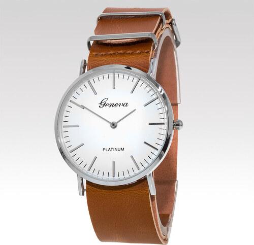 Geneva Analogové hodinky Titus stříbrné světle hnědé - Glami.cz 6d20c74eb63