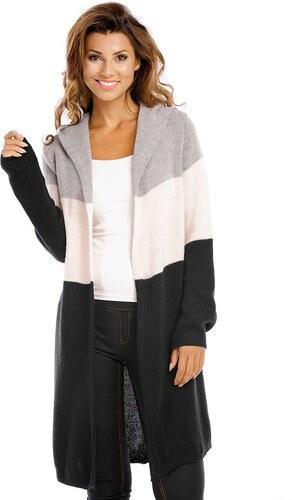 Italy Moda Dámský cardigan s kapucí - dlouhý Barva  šedo-černá ... 649e6b6b28
