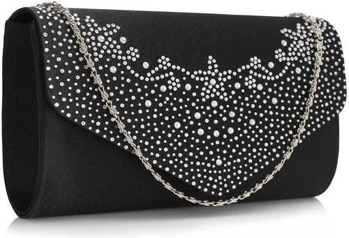 Spoločenská čierna dámska kabelka s diamantami - Glami.sk f5b16ba9b89