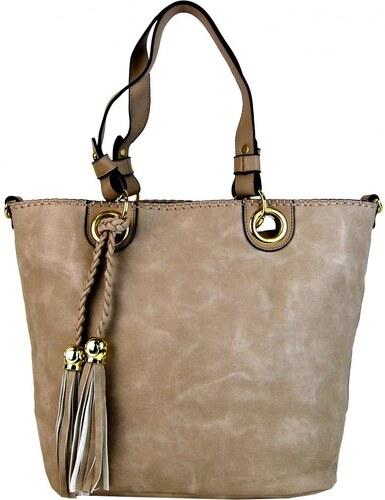 963a606df56c Maria Marni Elegantná kabelka na rameno so zlatými doplnkami 2181-BB  prírodná hnedá