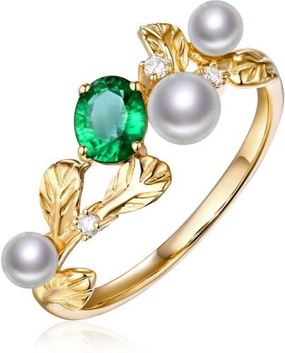 Eppi Zlatý smaragdový prsten s perlami a diamanty Will - Glami.cz 5a9983359f0