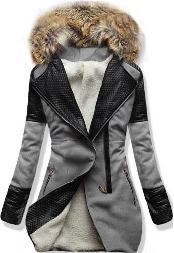 Dámský zimní kabát Mosiko šedý - šedá - Glami.cz 447c7654b5