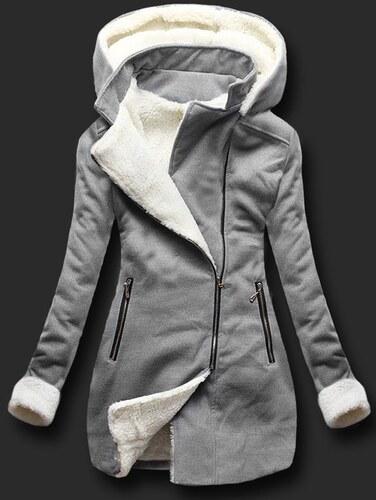 68518ac969b Dámský zimní kabát Mustache šedý - šedá - Glami.cz