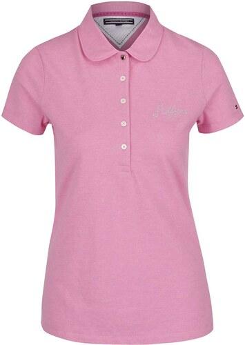 8d0cd504a9f2 Růžové dámské polo tričko s třpytkami Tommy Hilfiger - Glami.cz