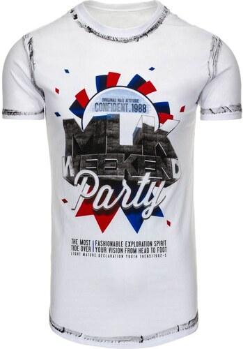 68831ff982 Pánske tričko s krátkym rukávom a nápisom WEEKEND PARTY bielej ...