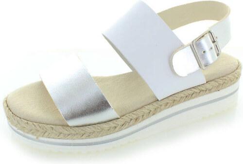d13eb8f07d67 Bielo-strieborné sandále Carmela 65588 - Glami.sk