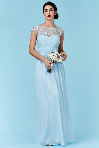 82dd5ebfbf16 Goddiva Svetlomodré šifónové šaty Flower Dream - Glami.sk