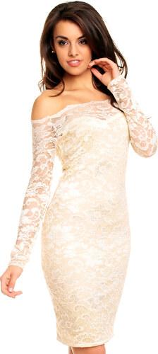 Dámské společenské šaty MAYAADI krajkové s dlouhým rukávem krátké krémové 111c079149