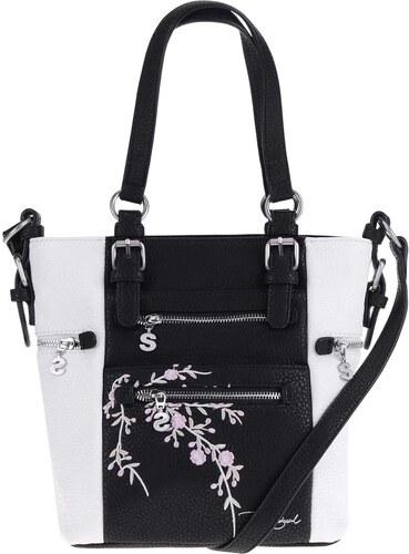 d2abf69f1fd8 Čierno-biela kabelka do ruky Desigual Mini Argentina Blossom - Glami.sk