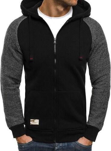 Ozonee Černá pánská mikina z poctivé bavlny s kapucí a na zip 835 ... 66a9d8b602