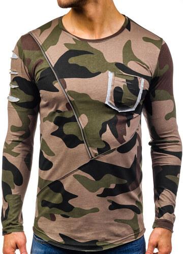 29239ee42922 Khaki pánské maskáčové tričko s dlouhým rukávem a potiskem Bolf 1090 ...