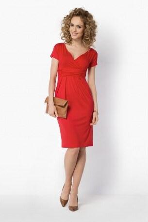 Dámské elegantní šaty s krátkým rukávem červené BE YOU BY5900 - Glami.cz 54a758ff75