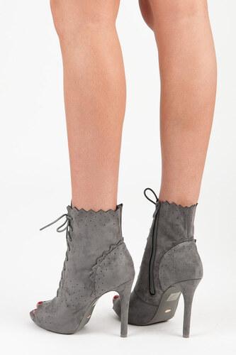 d4a85fde7b VICES Dámske tmavo šedé šnurovacie sandálky na vysokom podpätku ...