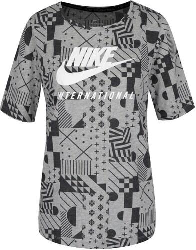 d2e8476f14966 Čierno-sivé dámske vzorované tričko s krátkym rukávom Nike - Glami.sk