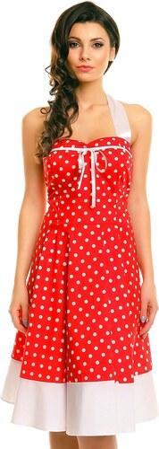 92c5313f1308 MAYAADI Dámské šaty ve stylu PIN UP ROCKABILLY s puntíky červené ...