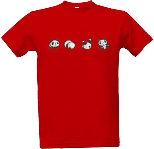 47c995aeccf T-shock tričko s potiskem Panda dělá kotoul pánské Červená S - Glami.cz