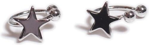 Beyou Náušnice   Falešný piercing do ucha s hvězdou sada 2 ks stříbrný f33e536fe51