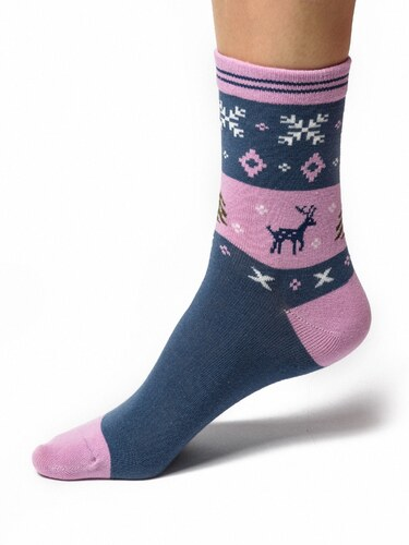 Dámské zdravotní ponožky se soby - balíček 5 párů - Calzanatta 1243 ... b674ddbc0f