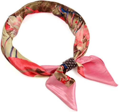 Bijoux Me Šátek s bižuterií Letuška Light - růžový s potiskem - Glami.cz 2bafc3be23