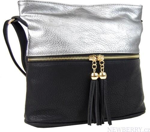 New Berry Malá crossbody kabelka se zlatým zipem NH6020 stříbrná ... 8ed1317d420