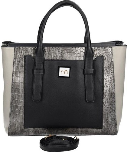9750a6ca60 NOBO Dámska kabelka uzatváraná zipsom v čierno-šedom prevedení ...