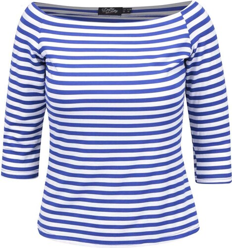4c65913c81c9 Modro-biele pruhované tričko s odhalenými ramenami Dolly   Dotty Gloria