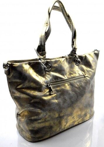 27cff79801 -200 Kč Duhová moderní lesklá šedá se zlatou kabelka na rameno Rosalinda  Valeria 24122