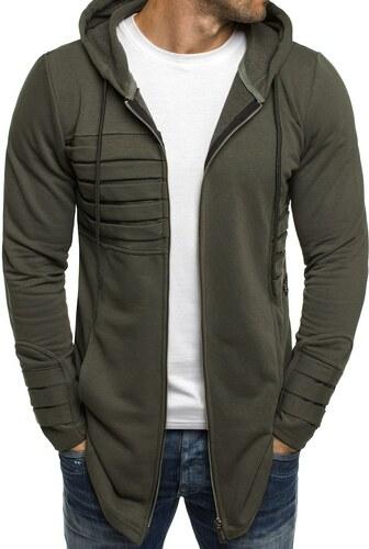 Breezy Predĺžená khaki pánska mikina s kapucňou a zipsom - Glami.sk eab6dc53b99