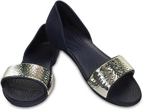 Crocs Dámské baleríny Crocs Lina Embellished D`Orsay Flat Navy Silver  204361-488 3c7037f562