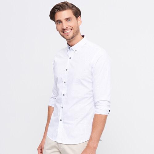 Reserved - Puntíkovaná košile slim fit - Bílá - Glami.cz e81ec51005