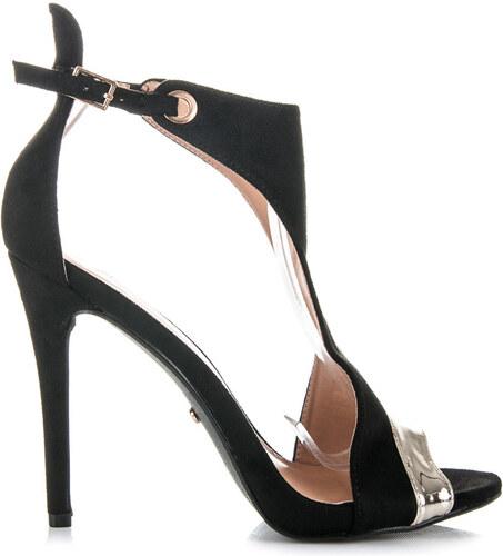 266aa937c8b1 IDEAL Luxusné čierne semišové sandále na podpätku - Glami.sk