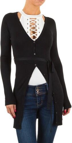 Dámský dlouhý svetr s vázáním černý - KL-V05-black - Glami.cz 94bf05f44f