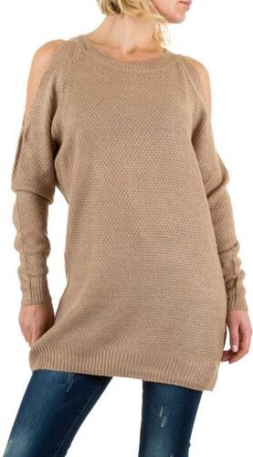 Dámský svetr od Emma   Ashley design se spadlými rameny béžový -  KL-PU6004-taupe 7b7c97fb08