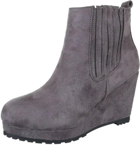 cc7d7cfc9d11 Módne dámske členkové topánky nevšedného štýlu - model VANDA 09 sivé ...