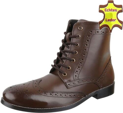 37e462bb2179 Pánske kožené členkové topánky Cool Walk - hnedá farba s šnúrkami elegantný