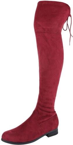 Krásne dámske čižmy nad kolená - model ILONA 01 červené - Glami.sk 89f85e349d7