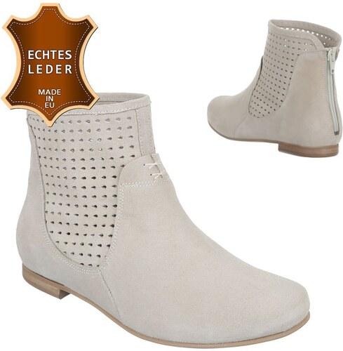 Kožené dámské kotníkové boty na podpatku - špínavě bílé - 3211-powder!SET 5268d745ce
