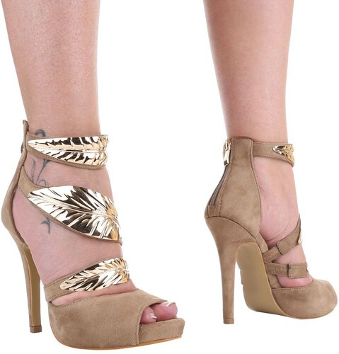 445f3f548c Dámske sandále na vysokom podpätku s ozdobnými prackami - model MIRKA 02