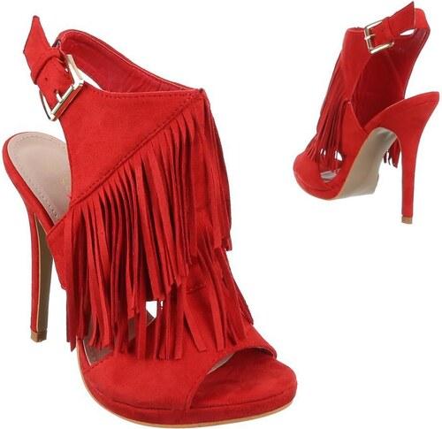 c574a1ee7ebf Dámske červené sandále na podpätku so strapcami - Glami.sk