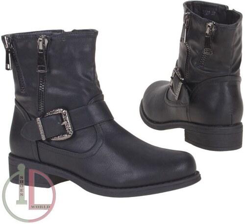 7c3b60b6b52 Kotníkové dámské boty se stahovací přezkou a zipy - barva černá -  5129-black!SET