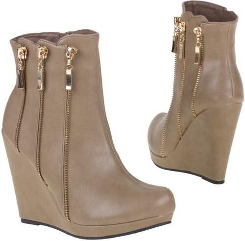 Dámske členkové topánky na vysokej platforme - hnedá khaki farba ... c6043d19ef9