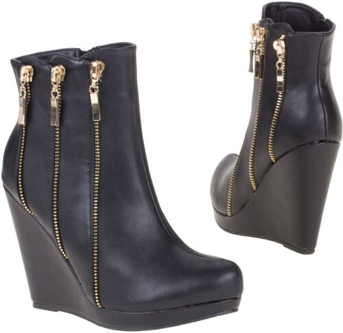 Dámské kotníkové boty na vysoké platformě - černá barva - JA24-black ... 2bc004c322