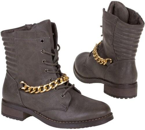 5d59599d5e436 Luxusné dámske členkové topánky s veľkým retiazkou šedá farba - Glami.sk